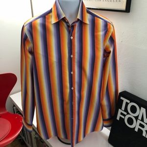 Etro Mens Striped Dress Shirt Size 40